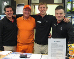 001 - Roll-Up organiser Neville Wootton with Pro Shop staff Ben, Jack & Chris (Neville Wootton Photography) Tags: golf canonixus70 stmelliongolfclub nevillewootton redhedzrollupxmastrophy