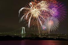 TOKYO RAINBOW BRIDGE (ajpscs) Tags: summer japan night tokyo nikon nightshot fireworks  nippon  odaiba rainbowbridge    d300    ajpscs  tokyorainbowbridge tokyobaygrandfireworks tokyobayhanabitaikai spectacularsummernight viewtokyoyakei tokyowanhanabitaikai