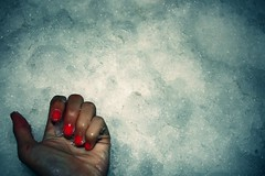 (Sarah Le Corre) Tags: orange white snow cold ice hand nails