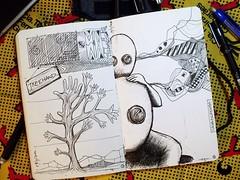 Treehand / Pai e filho _ Caderno 05 (Luiz Gonzaga - Gonzaguianos) Tags: brazil brasil ink notebook sketch sketchbook dibujo pai filho rvore galhos pretoebranco mos mo desenho penandink cavalinho nankin nanquim juizdefora luizgonzaga gstudio bicodepena blacknwite canetananquim gonzaguianos caderno05