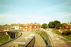 Castleford Footbridge (Saturated Imagery) Tags: film 35mm saturated footbridge toycamera riveraire castleford epsonv500 agphotographic photoshopelements9 kruidvatcolor200 keroppi35mm