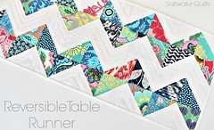 Lark Reversible Table Runner (Saltwater Quilts) Tags: christmas holiday modern quilt quilted patchwork chevron lark amybutler hst reversible tablerunner twosided halfsquaretriangles