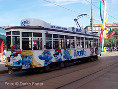 ATM 1773 Cartolina Puffi (Darko Fratar - www.darkopost.com) Tags: milano tram piazza atm 1773 fnm cadorna puffi carminati livrea toselli darkofratar