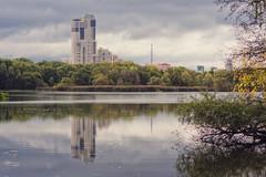 Suburban nature (Khuroshvili Ilya) Tags: park autumn sky urban reflection building art water architecture clouds canon river day cloudy moscow tres 2013 nvbr nvbr11