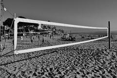 Untitled (ajkpix) Tags: ocean california street people blackandwhite bw net beach blackwhite sand volleyball lagunabeach blackwhitephotos scattidistrada