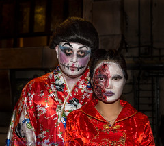 Sisters? (Keith Mulcahy) Tags: party people night hongkong festivals streetphotography lankwaifong centraldistrict lkk canon2470mmf28 canon5dmk3 october2013 halloween2013 keithmulcahy blackcygnusphotography ppa7a0 ppd56c