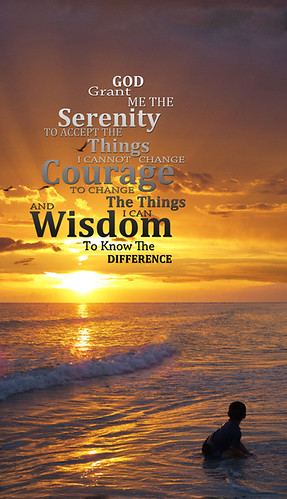 Serenity Prayer With Sunset By Sharon Cummings