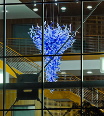 medical center chihuly (pbo31) Tags: sanfrancisco california blue panorama sculpture color chihuly art window glass night dark nikon december large panoramic d200 ucsf stitched medicalcenter 2013