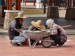 Drought Workers. Sidewalk, Taman Tasik Titiwangsa, Kuala Lumpur, Malaysia (Rana Pipiens) Tags: drought wheelbarrow newstraitstimes putrajayamalaysia mygearandme blinkagain tamantasiktitiwangsakualalumpurmalaysia klangvalleymalaysia