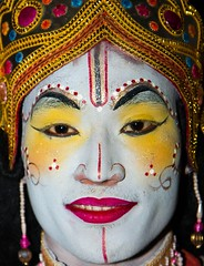 The eyes have it (rob of rochdale) Tags: india man colour play indian culture actor colourful jewels assam cultural ramayana majuliisland robofrochdale