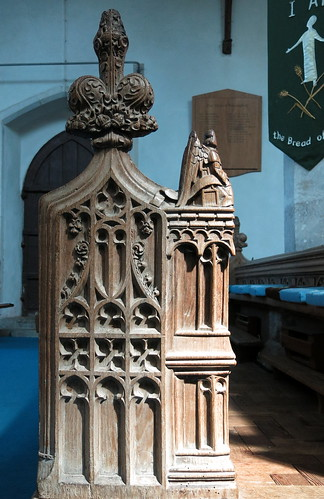 A 15th C. carved poppyhead bench end, the Church of St Peter and St Paul, Fressingfield, Suffolk, England