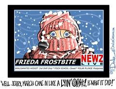 March snow cartoon (DSL art and photos) Tags: weather march blizzard editorialcartoon inlikealion donlee tvweatherreport friedafrostbite