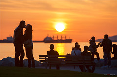 Spring Is In The Air (Clayton Perry Photoworks) Tags: sunset people beach vancouver boats spring ship silhouettes englishbay tanker