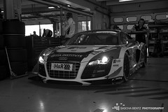 Audi R8 LMS Ultra (Sascha Bentz) Tags: bw white black car pits racetrack race racecar lights extreme sonic racing institute hr carbon expensive audi hockenheim tuning ultra fia xenon racer r8 lms tuned hockenheimring str boxen frch worldcars