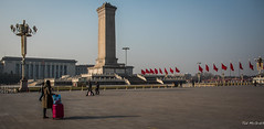 2016 - China - Beijing - Tian'anmen Square - Revolution Monument (Ted's photos - Returns Mid May) Tags: 2016 beijing china cropped nikon nikond750 nikonfx tedmcgrath tedsphotos vignetting tiananmensquare luggage suitcase square flags flagpoles monument gateofheavenlypeace beijingchina people peopleandpaths bollards shadows