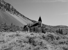 Old Church (jackiewilde) Tags: thompsonriver church britishcolumbia fraserriver canyon canada desert indianreserve pentax pentax6x7 rolleirpx25 landscape