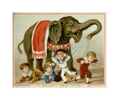 Lisää iPadkuvia (Kanerva2) Tags: christmas victorian scrapbook card greeting traditional hobby hobbie pastime elephant children boy child circus newyear