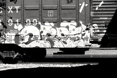 Train graffiti in Chickasha, Oklahoma (kevinellison62) Tags: blackwhite graffiti streetart trains chickasha oklahoma