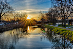 Rising over the Canal (kendoman26) Tags: hdr nikhdrefexpro2 sunrise sunburst imcanal iandmcanal imcanaliandmcanal nikon nikond7100 niksoftware tokinaatx1228prodx tokina tokina1228 travelillinois enjoyillinois