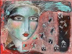"""FLIGHTS OF FANCY"" (kitty jujube) Tags: art mixedmedia woman face sandifitzgerald kittyjujube abstract acrylicpaint original contemporary canvas"