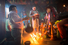 Maximón (Marc Gascoigne) Tags: shrine religion traditional tradition maximon mayan maya atitlan santiagoatitlan lakeatitlan guatemala travel traveling centralamerica worship candlelight candles men people