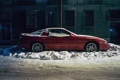 Katowice, Poland. (wojszyca) Tags: contax g2 zeiss biogon 21mm fuji fujichrome rtp t64 tungsten slide night longexposure car carspotting soloparking winter snow cold