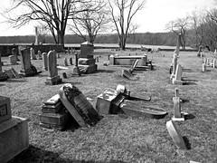 Ketoctin Baptist Church Yard (Photo Squirrel) Tags: tree wall headstone tombstone grave gravestone graveyard gravemarker memorial monument cemetery ketoctinbaptistchurch church virginia purcellville monochrome grayscale