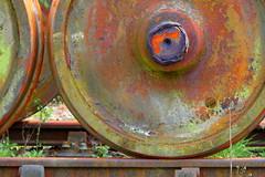 Decaying (Michael@H) Tags: wheel rust axle hub tyre tire rim rail