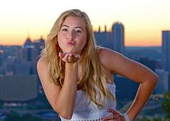 A kiss for Pittsburgh (R.A. Killmer) Tags: light kiss kayla seniorphotos senior bethelpark pittsburgh morning sunrise funny cute teen girl portrait