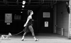 Warrior (burnt dirt) Tags: houston texas downtown city town mainstreet street sidewalk streetphotography fujifilm xt1 building office girl woman people person dog dogwalker walking leash tattoo tribal yogapants tights ponytail longhair glasses sunglasses bracelet sandals garage parking bw blackandwhite