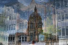 Reflections merged (PeteZab) Tags: water reflection buildings doubleexposure experiment distorted nottingham uk petezab peterzabulis