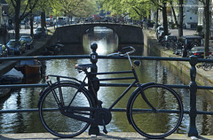 Amsterdam (Daryl 1988) Tags: amsterdam holland nikon d2xs canal focus bike bicycle bridge city cityscape waterscape 50mm 18f water trees spring 2017 april beauty walk morning iamsterdam netherlands boat keizersgracht reguliersgracht light