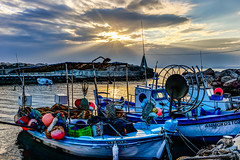 Last Light at the Fishing Port (George Plakides - Off for a few days) Tags: sunrays sunset goldenlight fishing port boats xylofagou cyprus