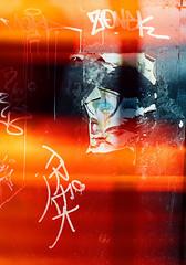Wink (Georgie_grrl) Tags: marchmontrealmission 50thbirthdaytrip withgeetha celebration party adventure montreal quebec pentaxk1000 rikenon12828mm cinestillfilm800tungsten graffiti tagging lightleak flare exposure poster torn face woman grrl wink zonek trek