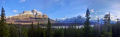 Marvellous Icefields Parkway Scenery - Panorama - Jasper National Park, Alberta, CA (André-DD) Tags: cans2s canada kanada urlaub vacation alberta herbst fall autumn outdoor clouds mountain landscape hill mountainside jasper national park parkway sonne sun panorama jaspernationalpark bäume baum tree trees serene mountains berge berg wolken wolke cloud natur nature icefields icefieldsparkway snow schnee sky