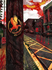 #CatchingFire (Steve Taylor (Photography)) Tags: catchingfire pheonix yellow art digital building bollard red brown white strange newzealand nz southisland canterbury christchurch cbd city fire bird car people men sign