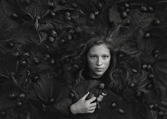 "3rd PLACE: ""Plums"" by Mariola Glajcar, Poland (childphotocompetition) Tags: plums fruit conceptual 3rdplace black white contest competition girl childportrait portrait photography"