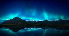 Northern Lights Reflections (jeanineleech) Tags: aurora northernlights lightshow iceland reflection reflections nighttime night sky star pano outdoor landscape
