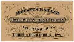 Augustus F. Siller, Paper Hanger, Philadelphia, Pa. (Alan Mays) Tags: ephemera businesscards advertising advertisements ads cards names paper printed siller augustusfsiller augustussiller paperhangers wallpaperhangers paperhanging wallpaperhanging wallpapers papers hanging hangers curvedtext textonacurve dropshadow borders franklinstreet philadelphia pa pennsylvania victorian 19thcentury nineteenthcentury antique old vintage typefaces type typography fonts
