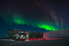 South Pole Station under Aurora Light (redfurwolf) Tags: southpole southpolestation antarctica aurora auroraaustralis night sky light darkness dark building snow ice outdoor star stars milkyway sonyalpha redfurwolf sony a99ii sal1635f28za