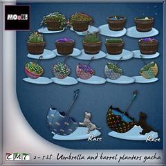 Umbrella and barrel planters gacha (Dalriada Delwood) Tags: twelve rain gacha planters barrel cute umbrella puppy