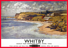 Whitby, Yorkshire. Vintage BR Travel Poster by Gyrth Russell. (Sorted Wendy) Tags: art poster picture image illustration painting photograph print graphic antiquity vintage bygone old classic historical nostalgic retro period yesteryear reminiscent archive travel journey trip voyage excursion seasideresort holiday transport railways trains locomotives landscape englishtravelposter yorkshire whitby britishrailways br whitbyabbey gyrthrussell