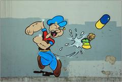 Popeye (Mabacam) Tags: 2017 london croydon theartquarter streetart wallart urbanart publicart spraycanart aerosolart painting paint mural freehand graffiti urbanwall wall character cartoon cartooncharacter elziecrislersegar popeye popeyethesailor