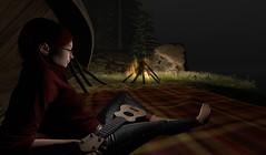 One girl, four strings... (Kallisti Burns (Discord Designs)) Tags: moonsong selfie sl secondlife ukulele campfire night shadows evening relaxing