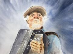 L'accordéoniste (Demars Philippe) Tags: demars aquarelle watercolor accordéoniste portrait musique lumière