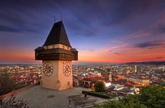 Magic clocktower sunset (Bernhard Sitzwohl) Tags: sunset outdoor architecture clock clocktower landmark monument graz austria leefilter cityscape urban travel greatphotographers
