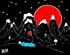 24. Under the red moon by #JS 2017 1272 (©Stefano Wolf) Tags: moon redmoon jacobsibbern lunarossa luna rosso art moonart drawingart drawingartist illustration illustrator balloonart balloon illustrazione illustratori drawing innerchild surreal disegno illustratore sleeping artwork arte rossa palloncino sleep conceptphotos conceptualimage