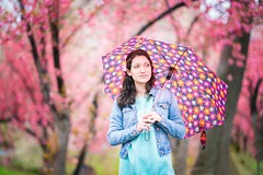 Portraits in pastels (Scrooge0) Tags: centralpark newyorkcity nyc shade rainyday umbrella pastels pastel spring garden parks flowers pink portraits portrait