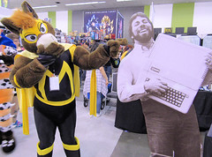 Masked Mustang snickers at Steve Wozniak! (critter superhero) Tags: superhero horse costume muscle spandex speedo laugh apple computer convention