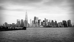 NYC Skyline II (Alexander Day) Tags: new york city skyline architecture buildings skyscraper one world trade center hudson river water sky vignette blackandwhite monochrome alex day alexander jersey